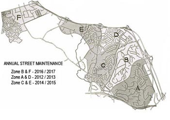 Map of the zones for the annual street maintenance
