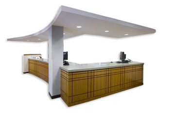L shaped front desk with 2 computers