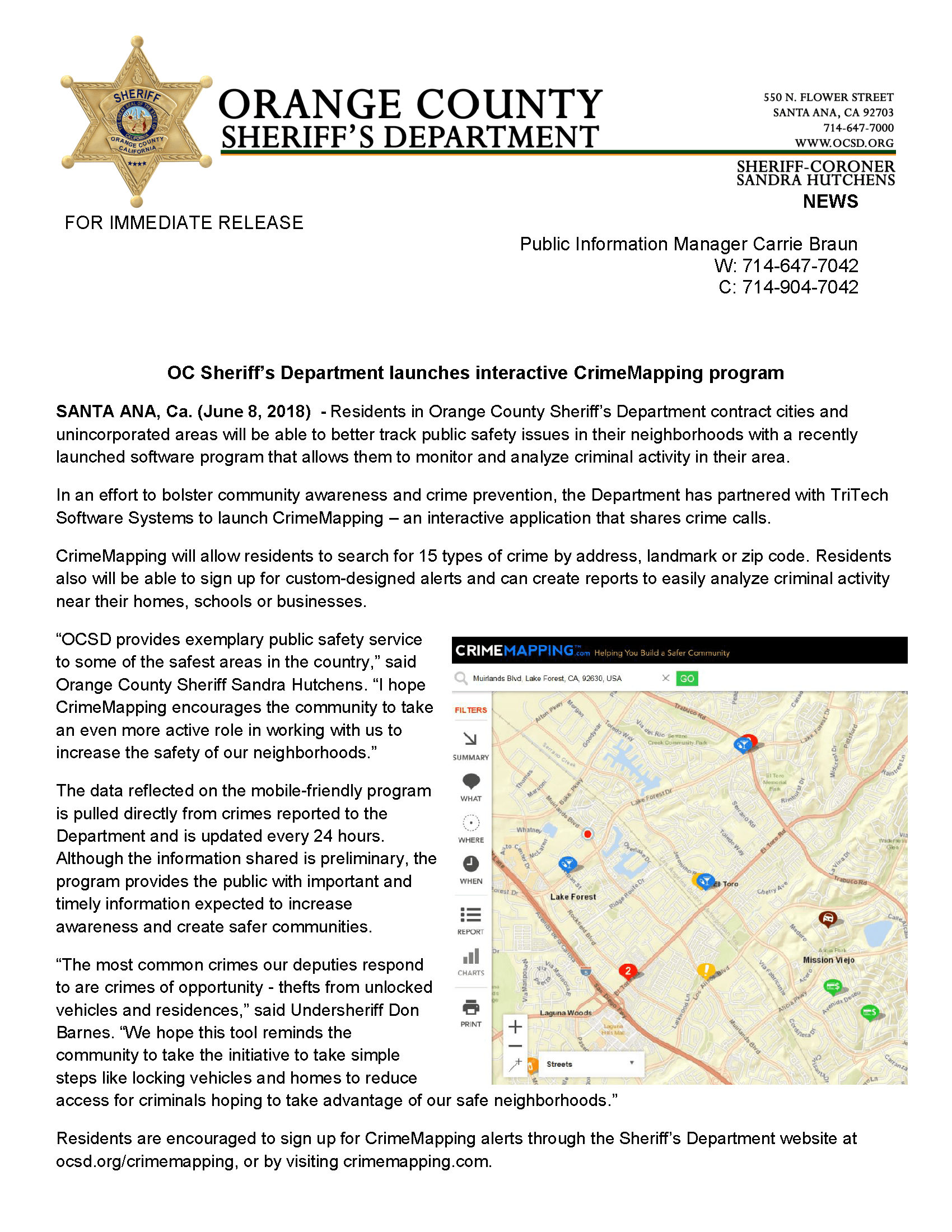 Contents of a press release by the Orange County Sheriff's Department regarding new crime mapping