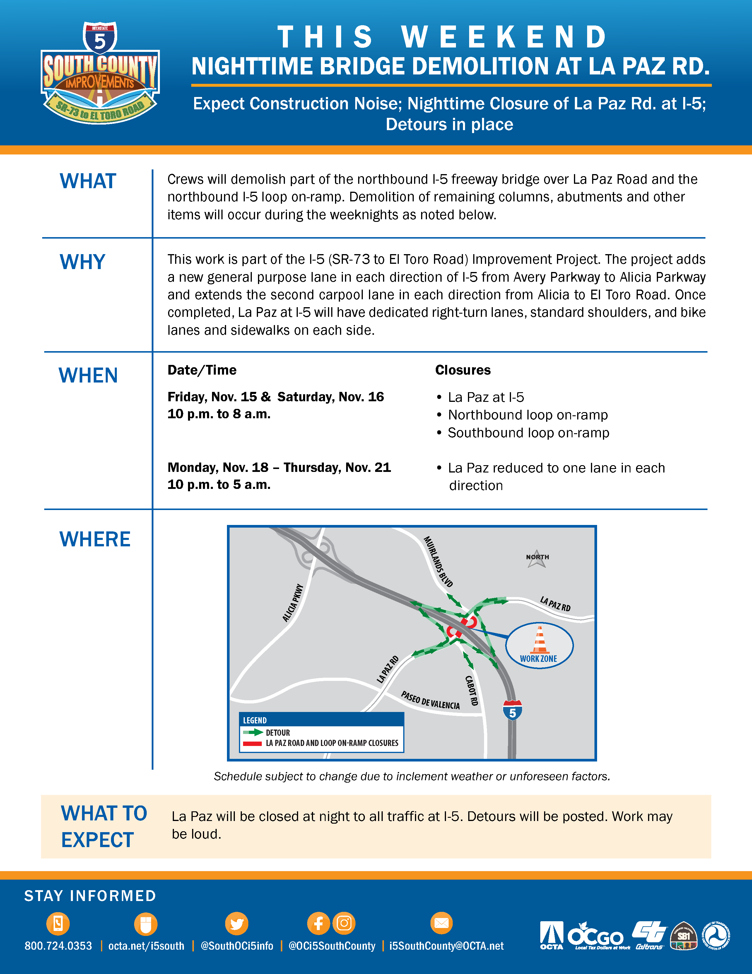 I-5 South County Improvements Special Alert Flyer