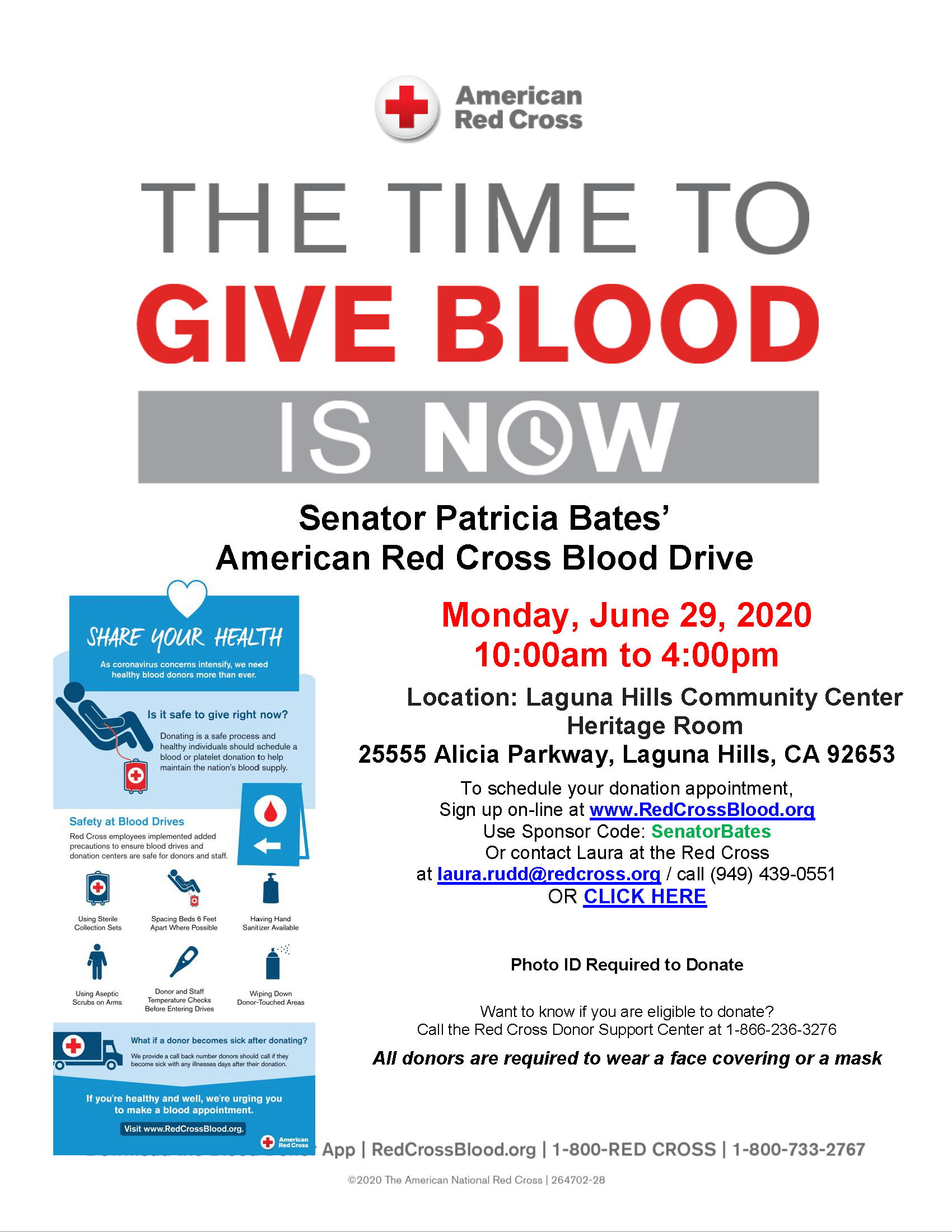 Red Cross Senator Bates Blood Drive flyer