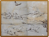 Drawing of wolves and horses